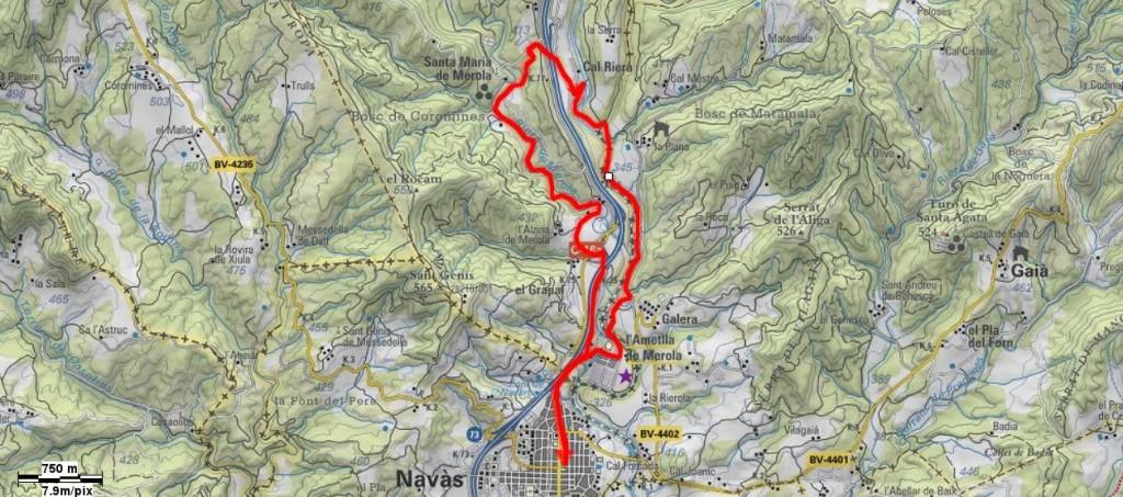 Mapa De Navàs a Merola i Cal Riera